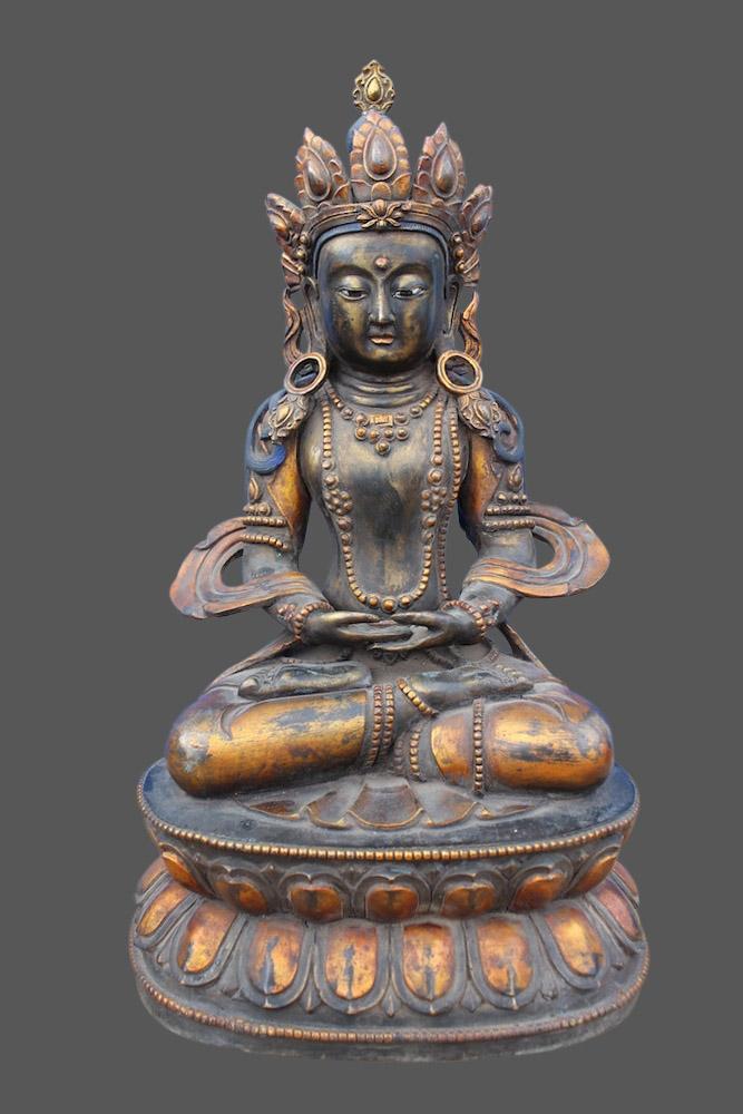 gekr nter amitabha buddha figur bronze buddha china budda skulptur buddhismus ebay. Black Bedroom Furniture Sets. Home Design Ideas