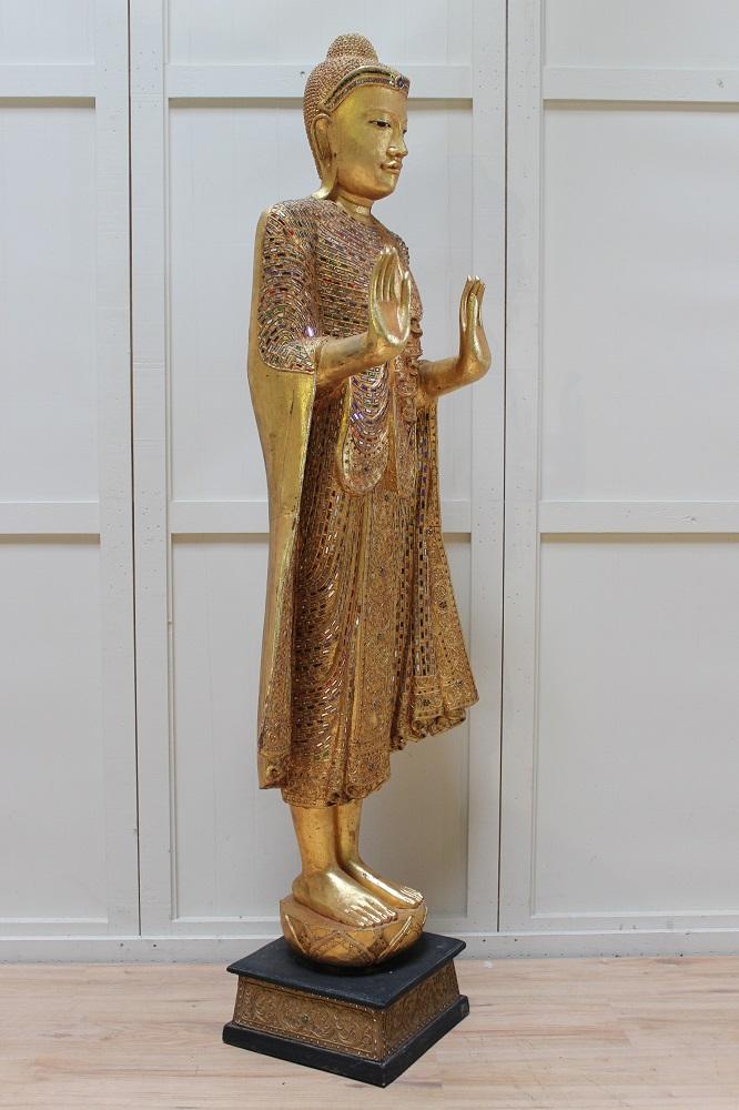 thai bouddha personnage grand debout bois bouddha tha lande bouddha statue mandalay alt ebay. Black Bedroom Furniture Sets. Home Design Ideas