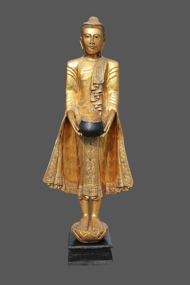 Thai buddha figur stehender holz buddha thailand buddha for Buddha statue holz