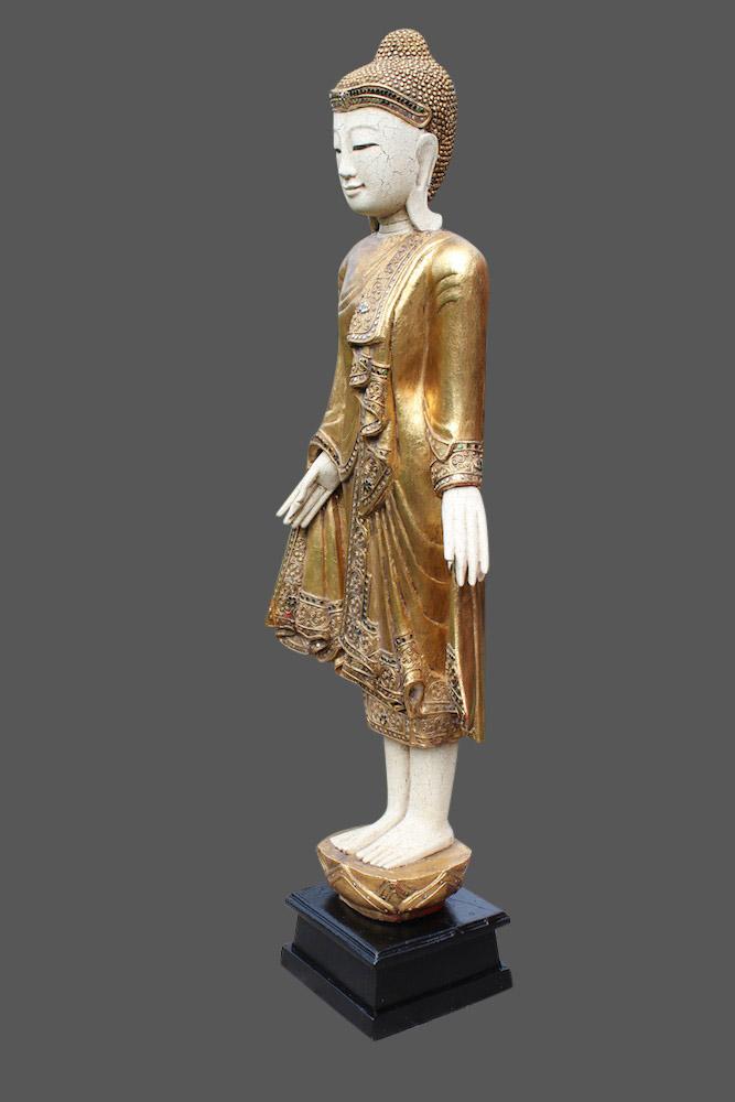 thai buddha figur stehender holz buddha thailand buddha statue mandalay budda ebay. Black Bedroom Furniture Sets. Home Design Ideas