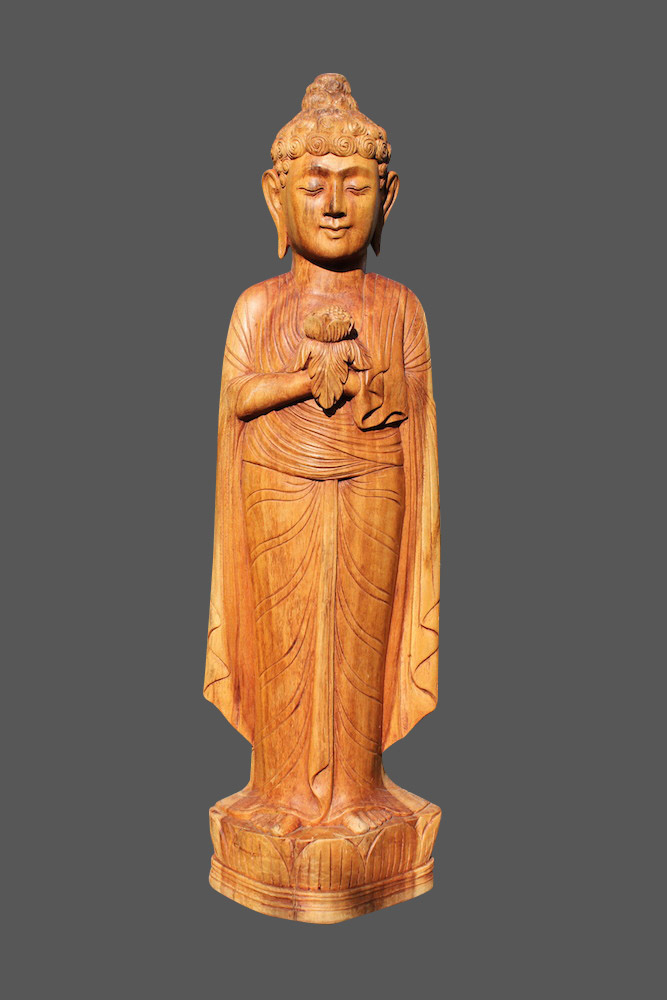 Gro er buddha figur statue shakyamuni teakholz geschnitzt for Buddha figur holz