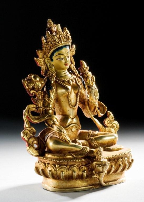 tara buddha statue figur bronze tibet feuervergoldet ebay. Black Bedroom Furniture Sets. Home Design Ideas