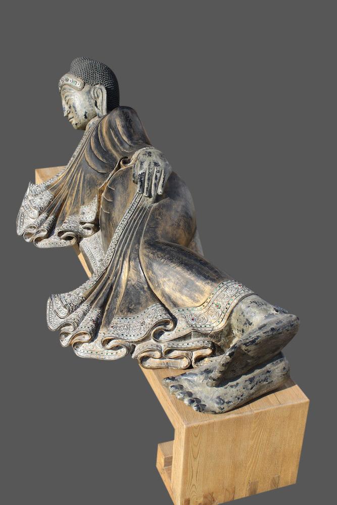 Nirvana thai buddha figur liegender holz buddha thailand for Buddha statue holz