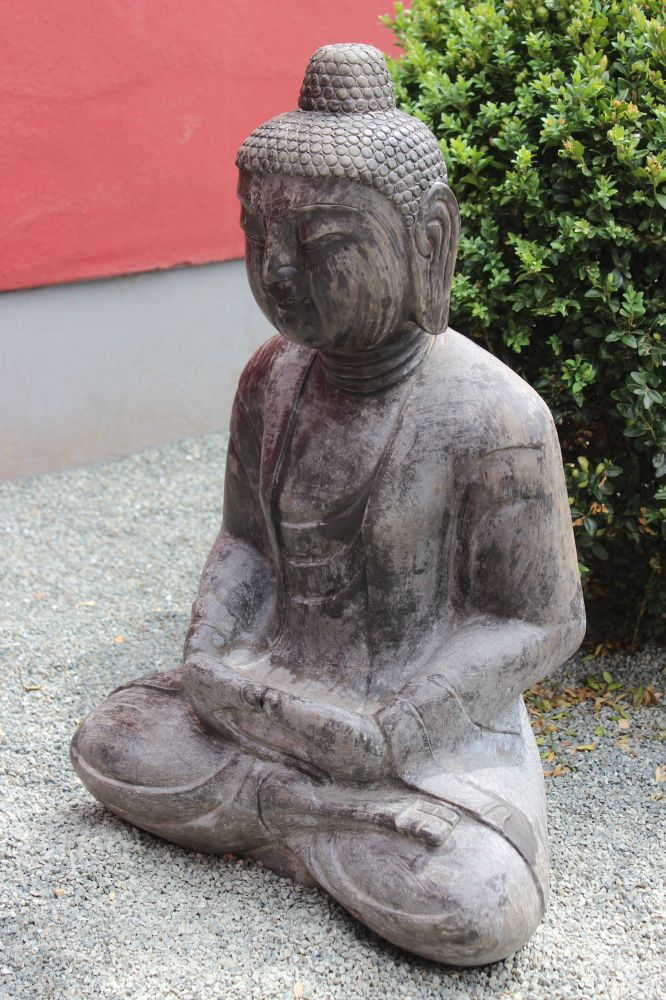 buddha figur steinfigur f r den garten japan garten buddha sitzend stein buddha ebay. Black Bedroom Furniture Sets. Home Design Ideas