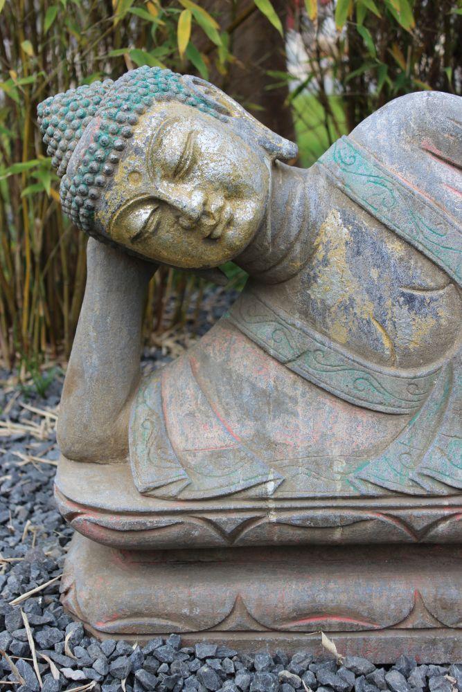 nirvana buddha stein figur garten asiatika china statue buddhismus asien tibet ebay. Black Bedroom Furniture Sets. Home Design Ideas