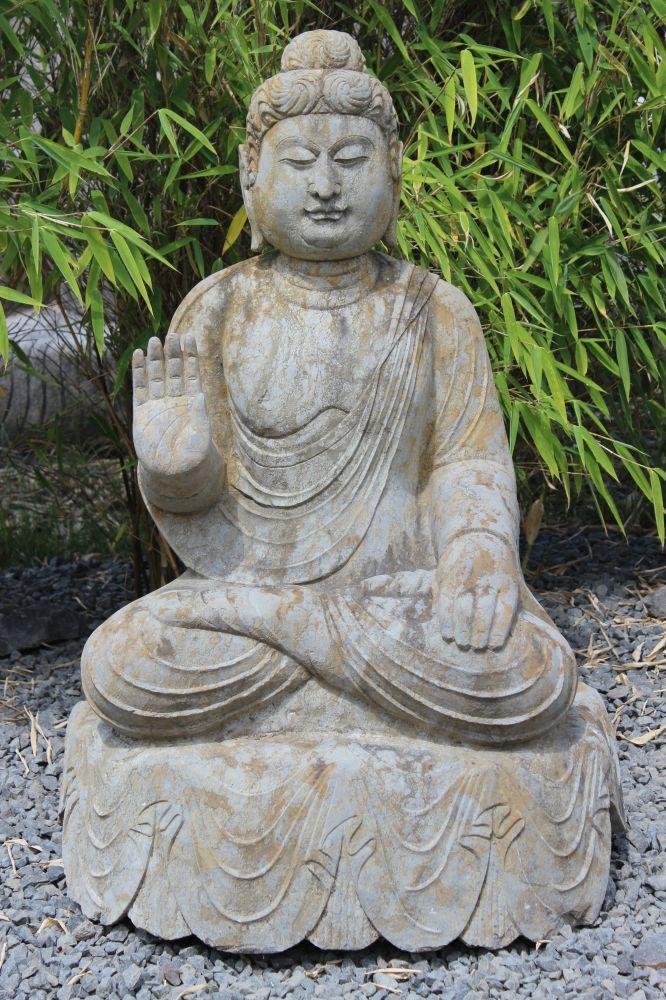 buddha mit ermutigungsgeste statue naturstein stein tibet china japan garten ebay. Black Bedroom Furniture Sets. Home Design Ideas